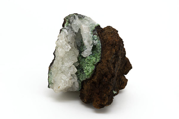CONICHALCITE & CALCITE ON LIMONITE